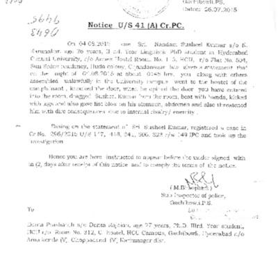 Police records from Gachibowli police station