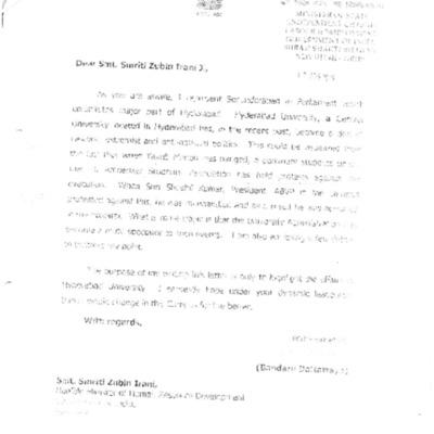 Minister of state Mr. Dattatreya tp MHRD and HCU admin