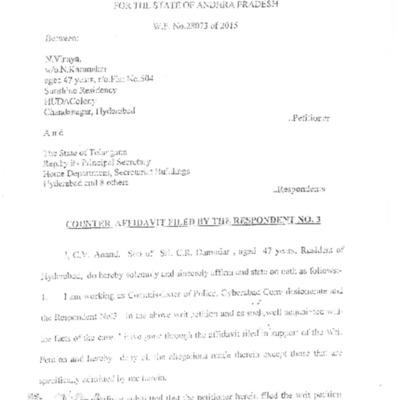 Counter-affidavit by commissioner C.V.Anand